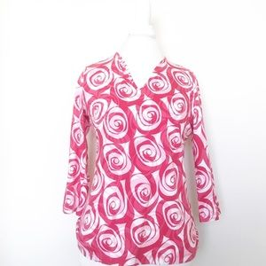 Talbots abstract rose tunic size small